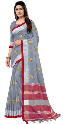Grey embroidered linen saree with blouse