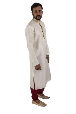 White embroidered raw silk kurta-pajama