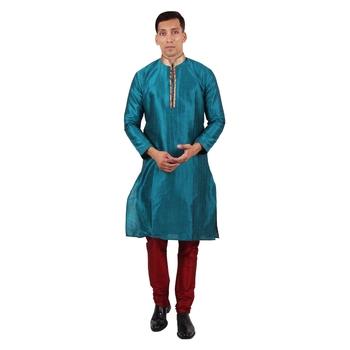 Green embroidered raw silk kurta-pajama