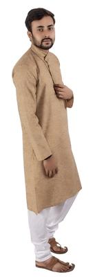 Beige plain cotton kurta-pajama