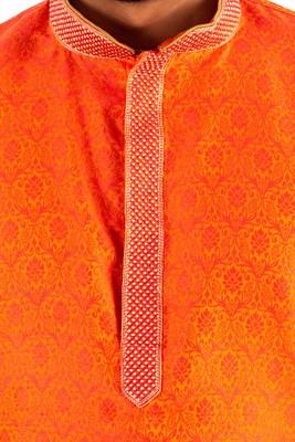 Orange embroidered raw silk kurta-pajama