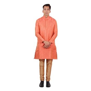 Orange brasso faux silk kurta-pajama