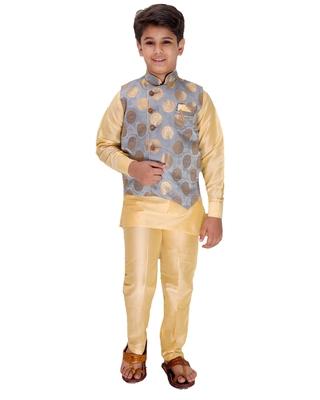 Grey printed cotton silk boys-kurta-pyjama