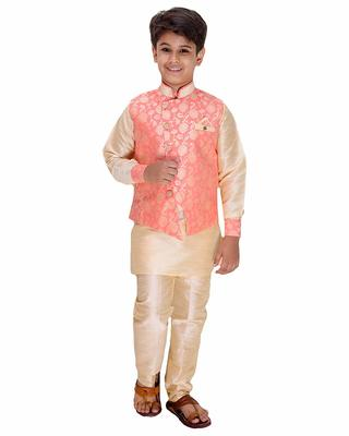 Pink printed cotton silk boys-kurta-pyjama