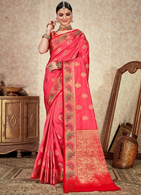 Pink woven art silk saree with blouse