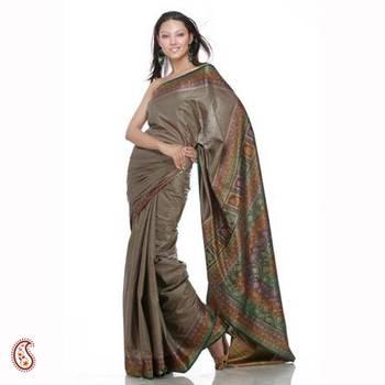 Greenish grey pure silk sari
