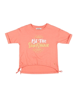 Red printed cotton kids-tops