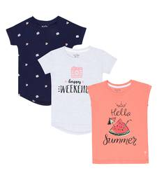 Red Printed Cotton Kids Tops