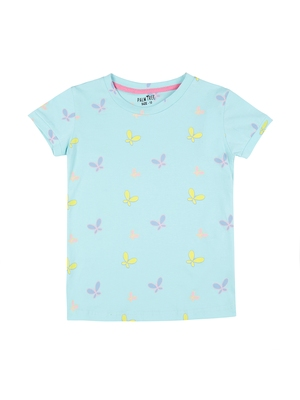 Green printed cotton kids-tops