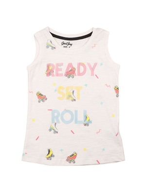 White printed cotton kids-tops