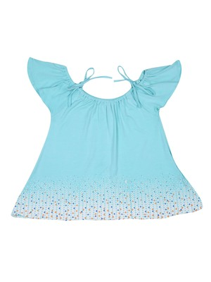 Blue Plain Cotton Kids Tops