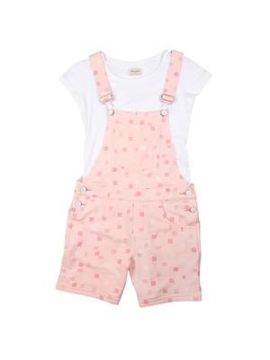 Pink printed cotton girls-dresses