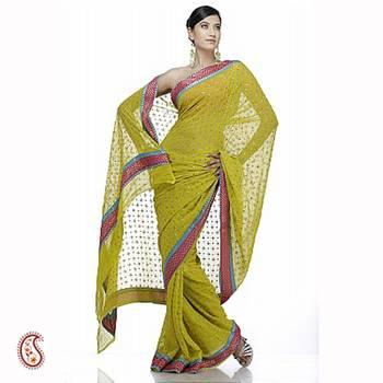 Mirror work gold print saree