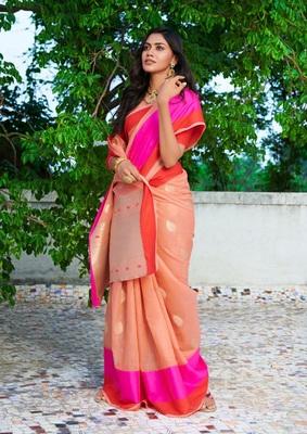 Womens  Designer Orange Linen Tissue Saree With  Blouse