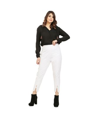 White Chikan Trouser