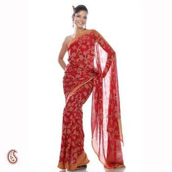 Tissue weave pure chiffon sari