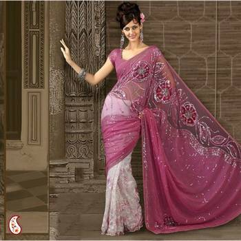 Soothing Pink embroidered sari