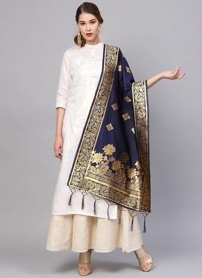 Women Navy blue Color Woven Traditional Dupatta