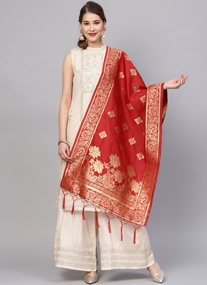 Women Red Color Woven Traditional Dupatta