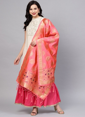 Women Light Peach Color Woven Traditional Dupatta