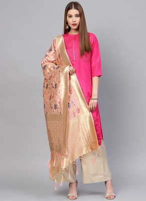 Women Light peach Color Woven Traditional Dupatta