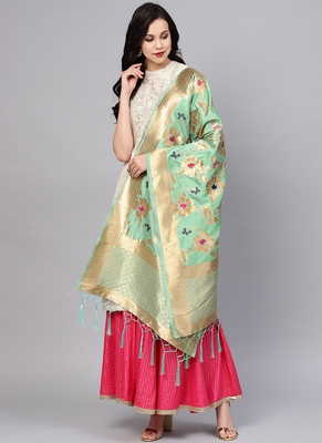 Women Sky blue Color Woven Traditional Dupatta