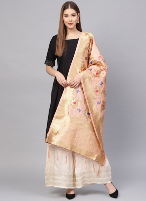 Women Baby Pink Color Woven Traditional Dupatta