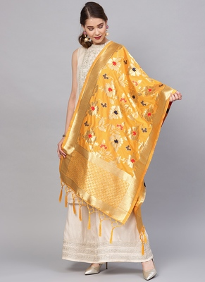 Women Mustard Color Woven Traditional Dupatta
