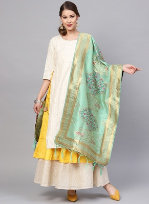 Women Sea Green Color Woven Traditional Dupatta