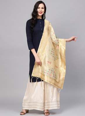 Women Cream Color Woven Traditional Dupatta