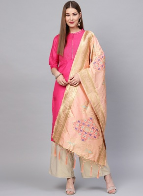 Women pink Peach Color Woven Traditional Dupatta