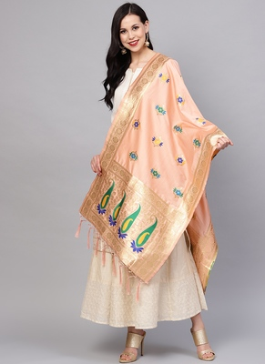 Women Peach Color Woven Traditional Dupatta