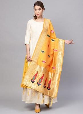 Women Yellow Color Woven Traditional Dupatta