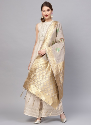 Women blue brown Color Woven Traditional Dupatta