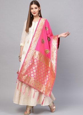 Women Pink Color Woven Traditional Dupatta