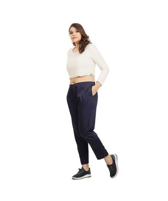 Navy Blue Tussar Pants