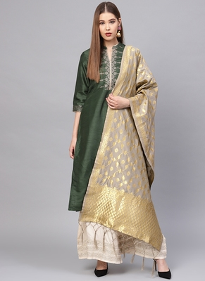 Women Slate Grey  Color Woven Traditional Dupatta