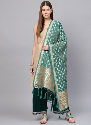 Women green Color Woven Traditional Dupatta