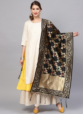 Women Black Color Woven Traditional Dupatta