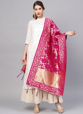 Women Magenta Color Woven Traditional Dupatta