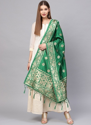 Women Green Color Woven Traditional Dupatta