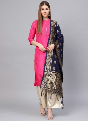 Women Navy blue Color Woven Traditional Dupatta
