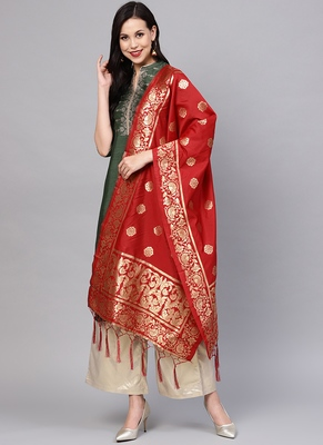 Women Crimson Red Color Woven Traditional Dupatta