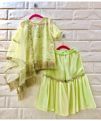 Yellow Green Chikan Work Sharara Kurta