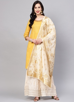 Women Off White Color Woven Traditional Dupatta