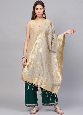 Women Silver Color Woven Traditional Dupatta