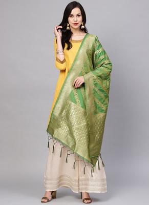 Women Light Green Color Woven Banarasi Dupatta