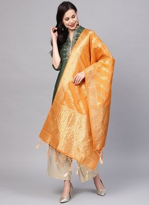 Women Orange Color Woven Banarasi Dupatta