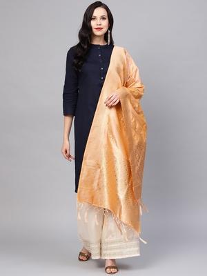Women Light Orange Color Woven Banarasi Dupatta