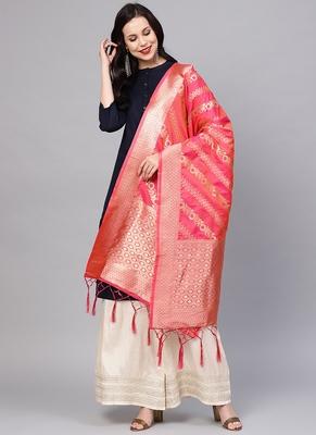 Women Pink Color Woven Banarasi Dupatta